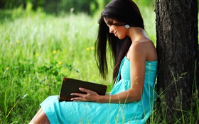 Blue dress girl reading a book HD wallpaper