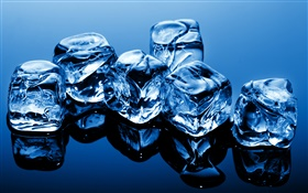 Blue ice cubes HD wallpaper