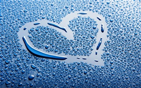 Blue love heart, water drops HD wallpaper