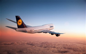 Boeing 747 aircraft, sky, dusk HD wallpaper