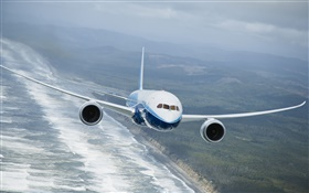 Boeing 787 aircraft, flying, sea HD wallpaper