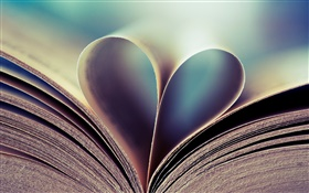 Book, page, love hearts HD wallpaper