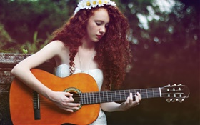 Brown hair music girl, guitar HD wallpaper