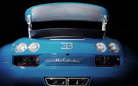 Bugatti Veyron 16.4 blue supercar rear view HD wallpaper