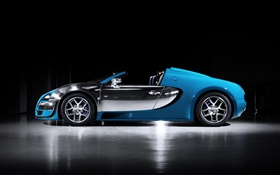 Bugatti Veyron 16.4 blue supercar side view HD wallpaper
