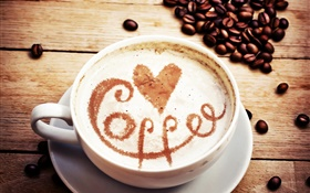 Cappuccino coffee, love hearts, coffee beans HD wallpaper