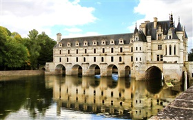 Chenonceau Castle, lake, Paris, France HD wallpaper