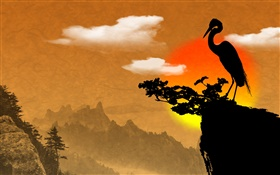 Chinese ink art, bird, cliff, dusk HD wallpaper