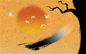 Chinese ink art, birds, tree, sunset HD wallpaper