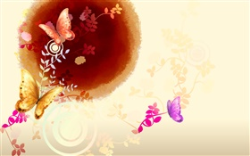Chinese ink art, butterfly with flowers HD wallpaper