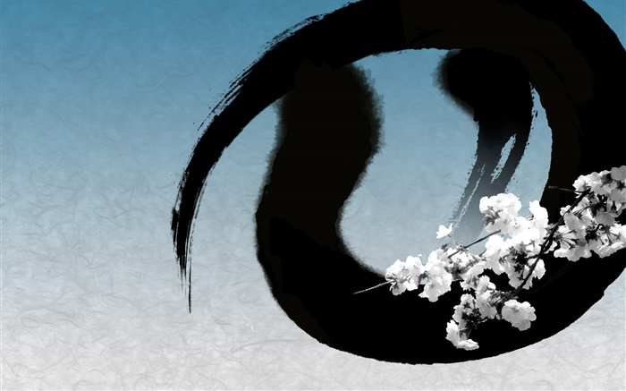 Chinese ink art, flowers, blue style Wallpapers Pictures Photos Images