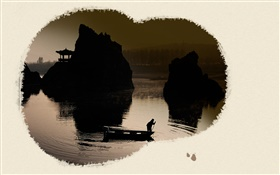 Chinese ink art, landscape painting HD wallpaper