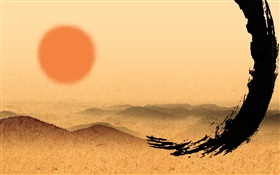 Chinese ink art, red sun HD wallpaper