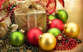 Christmas ornaments, balls and gifts HD wallpaper