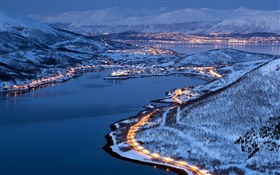 City lights, snow, winter, night, Tromso, Norway HD wallpaper