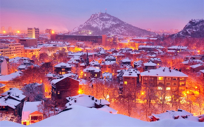 City, lights, winter, night, snow, Plovdiv, Bulgaria Wallpapers Pictures Photos Images