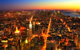 City, night, buildings, lights, sky, tilt-shift photography HD wallpaper