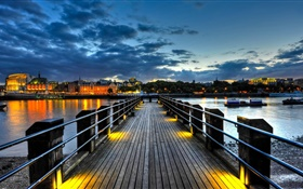 City, pier, bridge, river, houses, lights, night