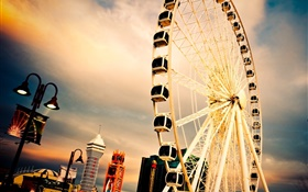 City scenery, Ferris wheel, houses HD wallpaper