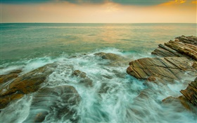 Coast, sea, stones, stream, dusk HD wallpaper