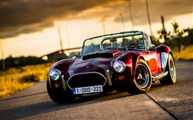 Cobra classic car at sunset HD wallpaper