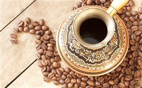 Coffee, cup, coffee beans HD wallpaper