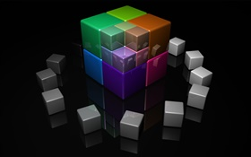 Colorful 3D cube HD wallpaper