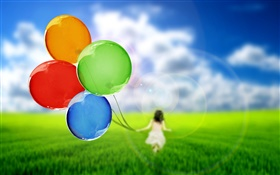 Colorful balloons, cute girl, grass, green, sky HD wallpaper