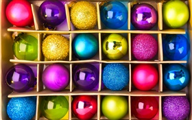 Colorful festive balls, Christmas HD wallpaper