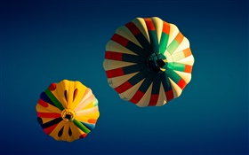 Colorful hot balloons, blue sky HD wallpaper