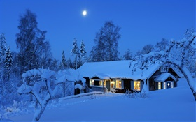 Country house, night, winter, snow, moon, Dalarna, Sweden HD wallpaper
