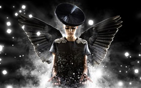 Creative design, angel girl, black wings HD wallpaper