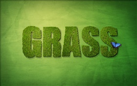 Creative design, green grass HD wallpaper