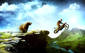 Creative pictures, bear chase motorcycle HD wallpaper