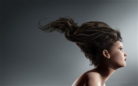 Creative pictures, girl different hair style HD wallpaper