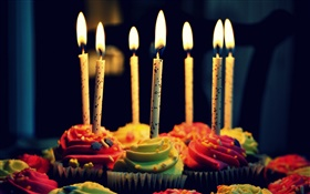 Cupcakes, cream, birthday, candles, fire HD wallpaper