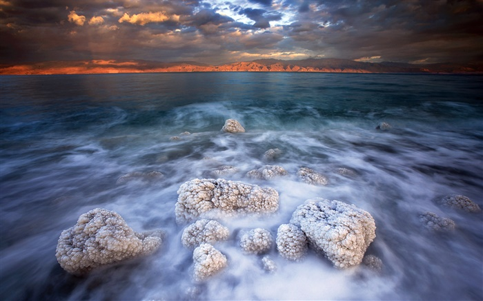 Dead sea, salt, clouds, dusk Wallpapers Pictures Photos Images