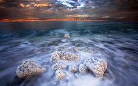 Dead sea, salt, clouds, dusk HD wallpaper
