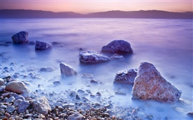 Dead sea, sunrise, salt, stones HD wallpaper