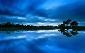 Dusk, lake, trees, blue sky, water reflection HD wallpaper