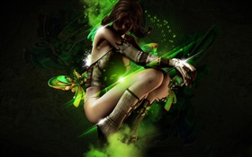 Fantasy girl dance, green abstract HD wallpaper