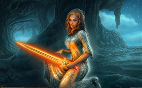 Fantasy girl holding lightsaber HD wallpaper