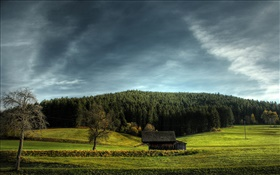 Farmland, house, trees, clouds HD wallpaper