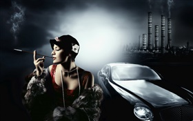 Fashion girl with luxury car HD wallpaper