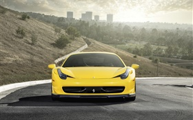 Ferrari 458 Italia yellow supercar front view HD wallpaper