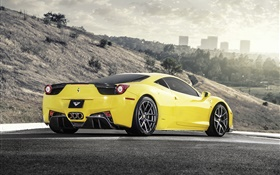 Ferrari 458 Italia yellow supercar rear view