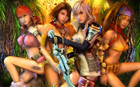 Final Fantasy XIII, four girls