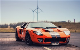 Ford GT orange supercar front view HD wallpaper