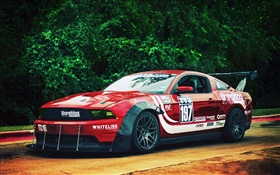 Ford Mustang red race car HD wallpaper