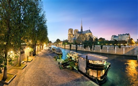 France, Notre Dame, river, boats, night, lights HD wallpaper